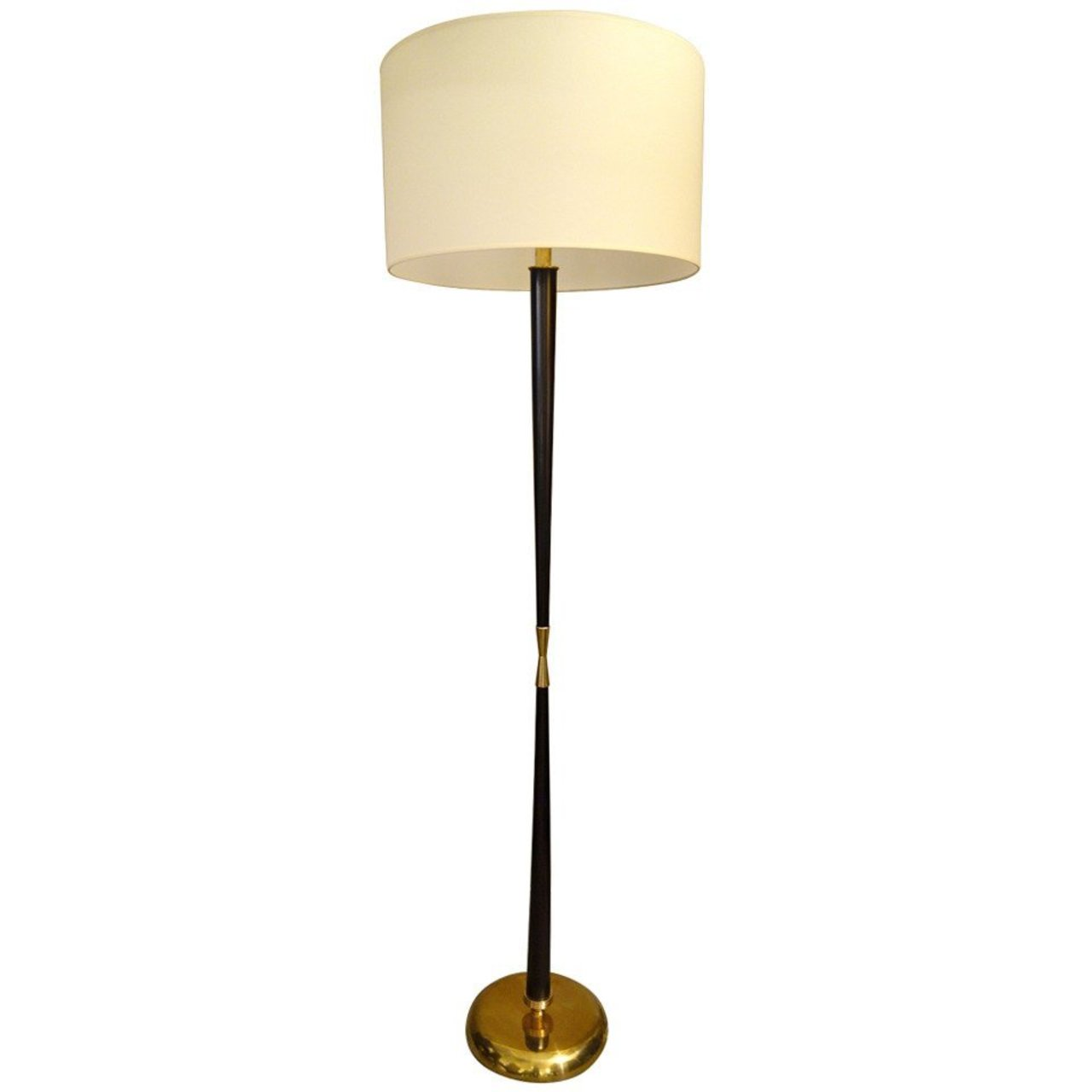 Italian mid century modern stilnovo wood and brass floor Wood floor lamp