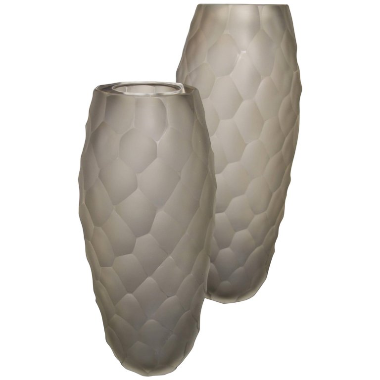 Pair Of Alberto Don Large Gray Frosted Faceted Italian Murano Vases